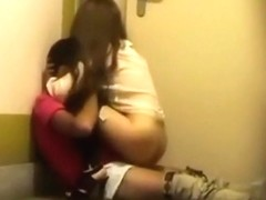 Voyeur tapes a party couple having sex in the hallway of a hotel