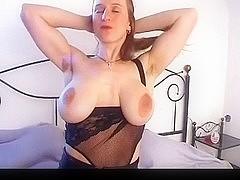 Breasty beauty with large saggy titties & shaggy twat masturbates