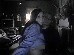 Teen couple's sex in the dark on cam