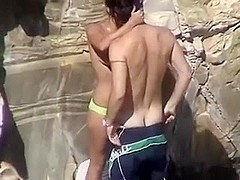 Amateur on the Beach - just married