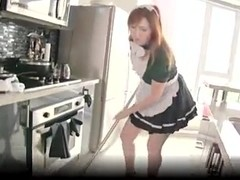redhead french maid in the kitchen