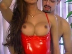 Sexy tranny in red lingerie