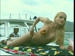 Hot beautiful Tgirl anal fucking on yacht