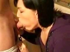 Brunette blowjob and cum
