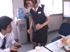 Gorgeous office milf Akari Asahina gives an arousing footjob