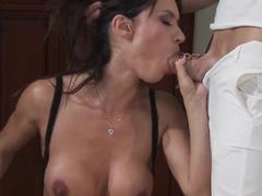 Franceska Jaimes giving a deepthroat blowjob to her big cock friend!