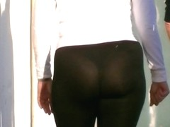 Candid big ass milf in see through spandex