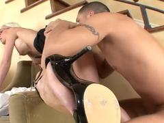 Best pornstar Angel Dark in crazy threesome, dp adult clip