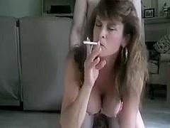 Hot Mature Cougar Smoking Doggy and Assbanged