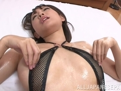 Yuzu Ogura lovely Asian babe in sexy lingerie gets cum facial