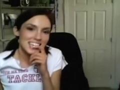 Slim immature teases & strips on webcam