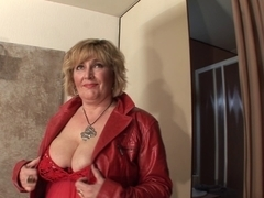 Chubby MILF masturbating her mature cunt with a dildo