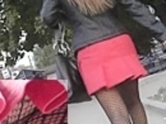 Dark fishnet hose up red petticoat