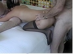 Extremely old man has sex with a young woman