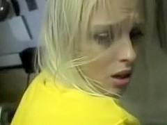 Blonde slut sucks and fucks at work in her break