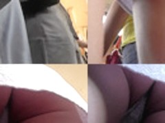 Yummy ass of a redhead seen in real upskirt movie