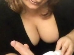 Busty womanmy masturbates cock with vibrator