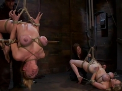 2 amazing girls, 2 massive sets of bound boobageBrutal screaming squirting orgasms from hell!