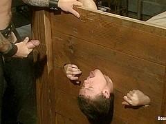 BoundGods : Caged sex slave endures a beating hot wax and hard stockade fuck