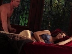 Slow hardcore erotic scene with brunette babe Holly Michaels