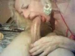 Mature tranny swallows big cock