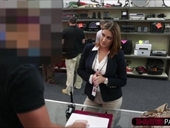 Sexy Brunette College girl selling a book gets hammered by shop owner