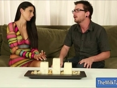 Busty massage therapist Nikki Daniels milking clients cock