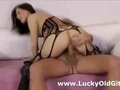 Older British guy fucks girl in lingerie and boots