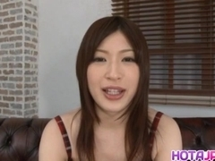 Riko Oshima in long socks has shaved pussy aroused with vibrator