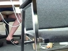 Student woman bare pussy in a library computer room spy video
