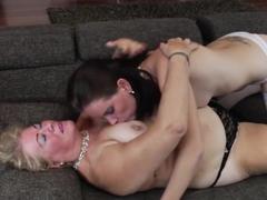 Horny pornstar in fabulous lingerie, lesbian sex video