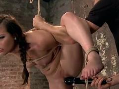 Porn Starlet Endures Crazy Orgasms in Brutal Bondage Positions
