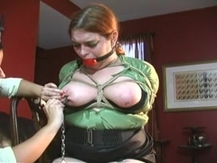 Chubby slut gets tortured and hogtied