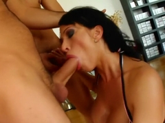 Big breasted brunette slut Cony shows off her cock sucking abilities