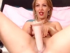 Milf blonde JessieRied fucks herself with big sex toy