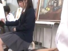 Crazy Japanese chick Nozomi Aiuchi, Satomi Kirihara, Arisa Nakano in Exotic College/Gakuseifuku JA.