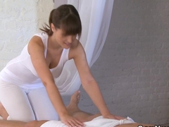 Busty masseuse wanking cock till orgasm