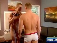 Cock tugging pornstar sucks