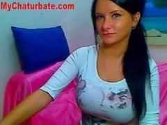 Hot Brunette Huge Tits On Webcam
