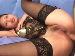 Brooke gets fucked in the ass and finishes her man off with her mouth