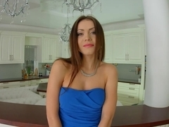 Givemepink Lou in blue dress pleasures herself solo