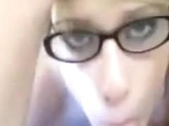 Cum on her glasses