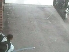 Security cam voyeured chubby amateur pissing in the yard