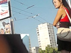 Upskirt view of the long-haired Asian amateur girl