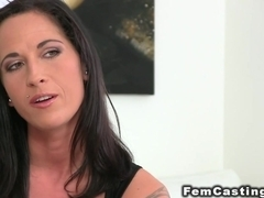 Babe has first lesbian sex in casting