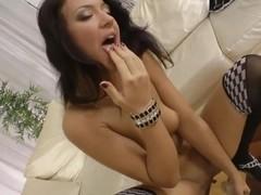 Teen gal sucks dick after dildoing asshole