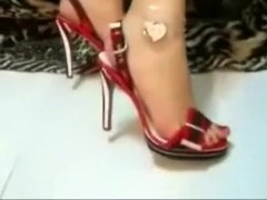 The perfect feet of my playgirl in sexy high heel shoes