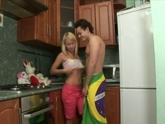 Legal Age Teenager Golden-Haired Alisa  Fuck in the Kitchen