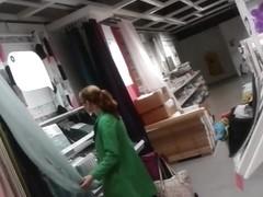 Redhead MILF upskirt out shopping
