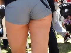 Nice ass in blue shorts on the street